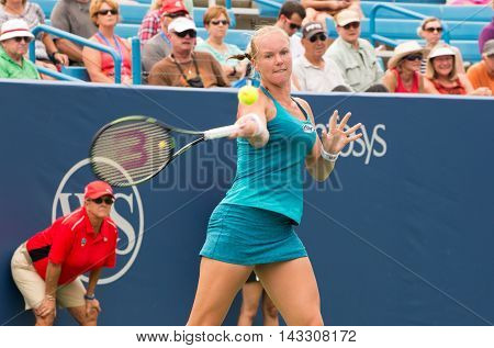 Mason Ohio - August 16 2016: Kiki Bertens in a match at the Western and Southern Open in Mason Ohio on August 16 2016.