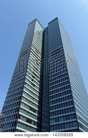 FRANKFURT AM MAIN GERMANY - AUGUST 7 2015: Tower 185 (PWC Tower) is a 55-storey 200 m skyscraper in the Gallus district of Frankfurt. It is the 4th tallest building in the city.