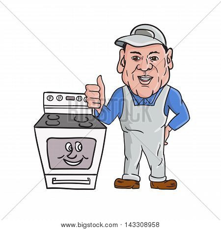Illustration of an oven cleaner technician wearing hat and overalls thumbs up facing front with oven on the side set on isolated white background done in cartoon style.