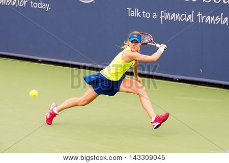 Mason Ohio - August 13 2016: Alize Cornet in a qualifying match at the Western and Southern Open in Mason Ohio on August 13 2016.