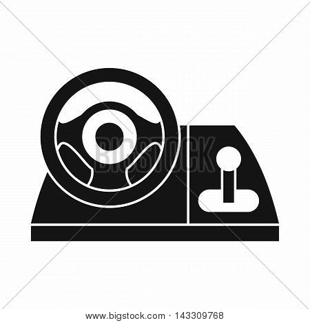 Computer steering wheel icon in simple style on a white background