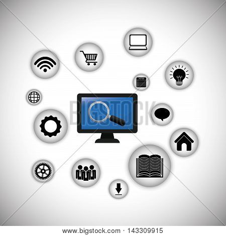 computer lupe internet of things technology digital app appliances icon set. Flat illustration. Vector illustration