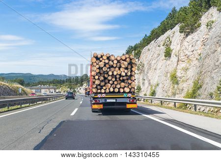 Truck carrying wood on highway. Wood processing industry.