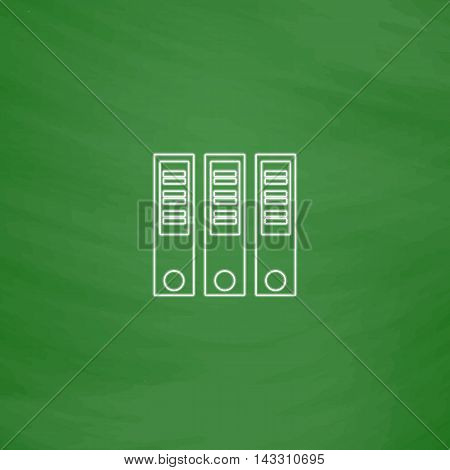 Binders Outline vector icon. Imitation draw with white chalk on green chalkboard. Flat Pictogram and School board background. Illustration symbol