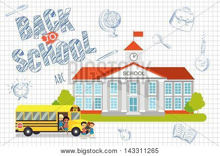 Back to school background with kids. Vector illustration
