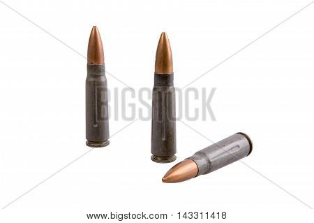 Machine gun bullets isolated on a white background