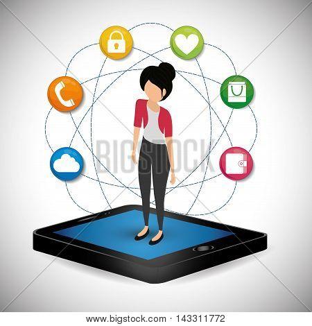 smartphone girl social media technology digital app icon set. Flat illustration. Vector illustration