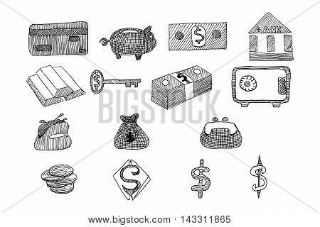 Icon set business and finance with money, graphs, calculator, shaking hands, hand drawn vector