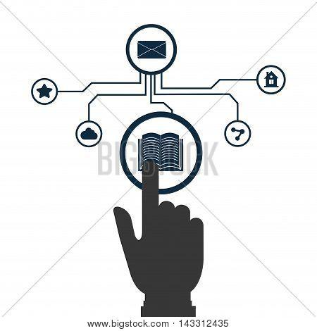 hand social media technology digital app icon set. Flat illustration. Vector illustration