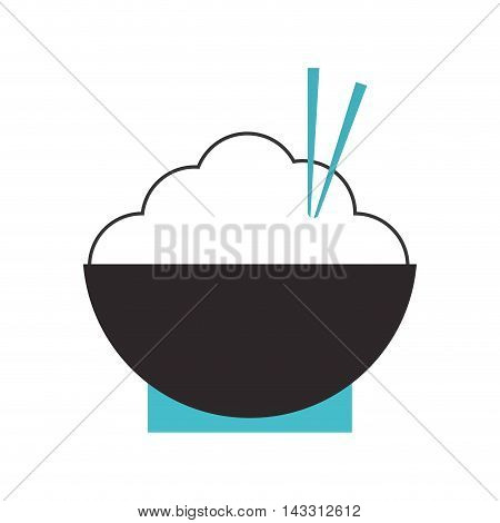 flat design rice bowl with chopsticks icon vector illustration