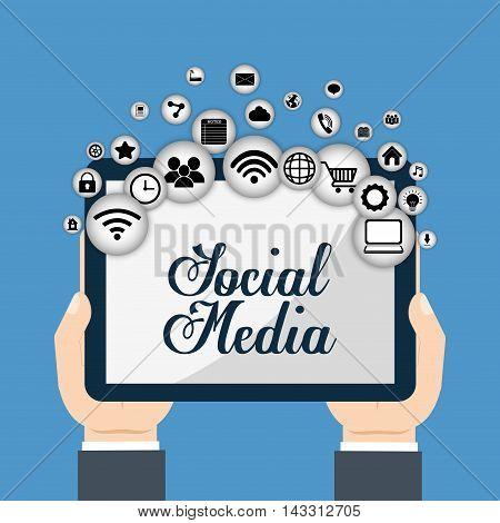 tablet social media technology digital app icon set. Flat illustration. Vector illustration