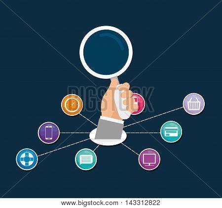 hand lupe social media technology digital app icon set. Flat illustration. Vector illustration