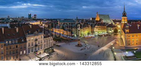 Night Panorama of Royal Castle and Old Town in Warsaw Poland