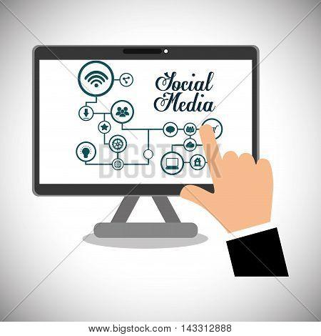 computer social media technology digital app icon set. Flat illustration. Vector illustration