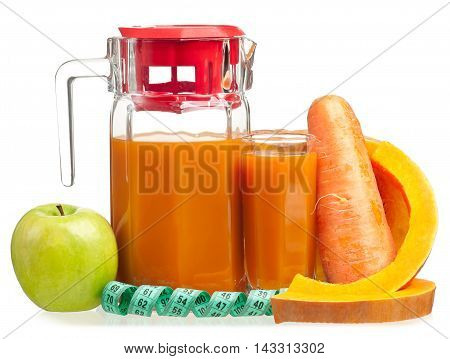 Fresh fruit juice with tape measure isolated on white background