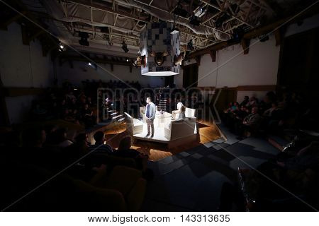 MOSCOW, RUSSIA - MAY 16, 2015: Performing in Sphere Moscow Drama theater on day of media preview of play Turning into Listening Ear after novel by A.Ponizovsky