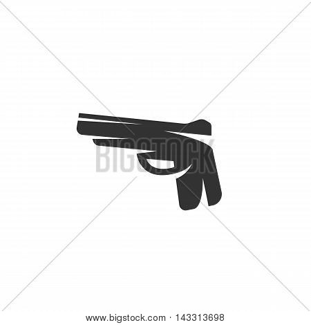 Gun logo silhouette design template isolated on a white background. Simple concept icon for web, mobile and infographics. Abstract symbol, sign, pictogram, illustration - stock vector