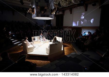 MOSCOW, RUSSIA - MAY 16, 2015: Show in Sphere Moscow Drama theater on day of media preview of play Turning into Listening Ear after novel by A.Ponizovsky