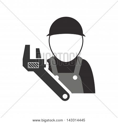wrench constructer tool repair construction silhouette icon. Flat and Isolated design. Vector illustration