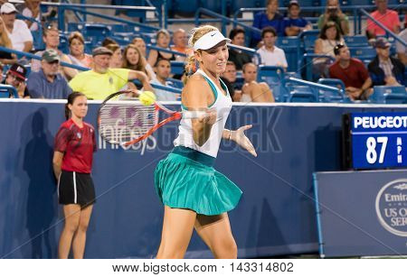Mason Ohio - August 15 2016: Donna Vekic in match against Ana Ivonavic at the Western and Southern Open in Mason Ohio on August 15 2016.