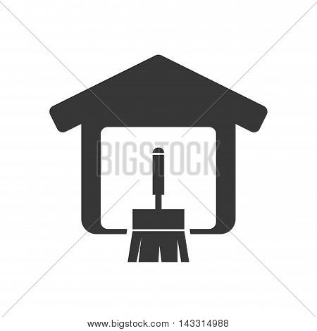 brush tool house home repair construction silhouette icon. Flat and Isolated design. Vector illustration