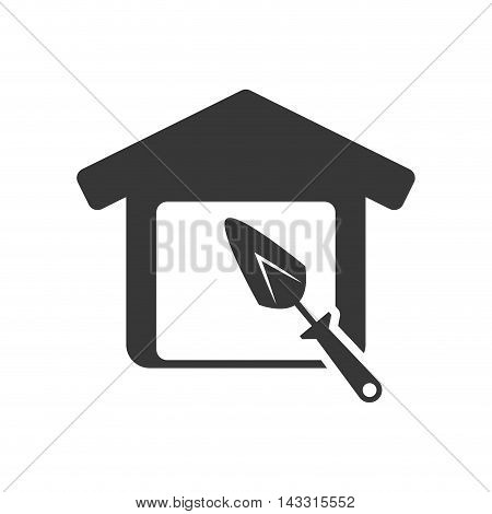 spatula tool house home repair construction silhouette icon. Flat and Isolated design. Vector illustration