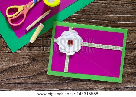 Greeting Card Handmade Birthday. Sheets Of Paper, Glue, Scissors And Ribbon On A Wooden Table. Instr
