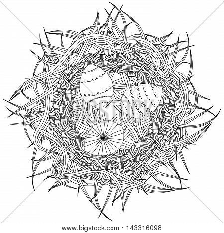 Coloring page for adult anti stress coloring and other decoration. Zentangle design. Abstract nest with decorative eggs and grass