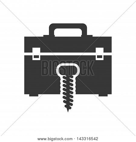 nut tool kit box repair construction silhouette icon. Flat and Isolated design. Vector illustration