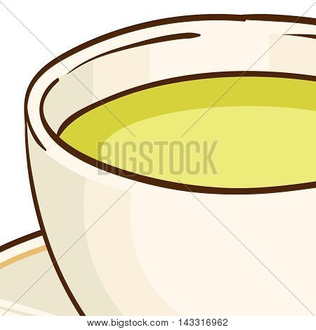 Cup of green tea with saucer. Vector hand drawn illustration, isolated on white