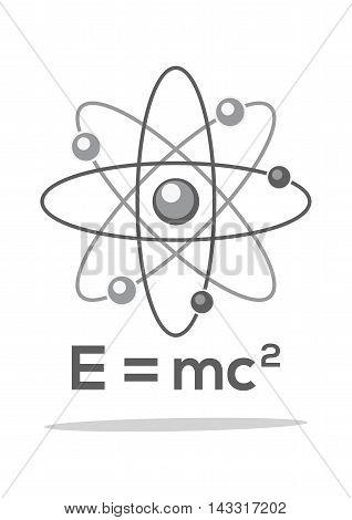 Atom. Molecule. Physics. Symbol. Formula. E = mc2. Monochrome icon. Vector illustration isolated on white background