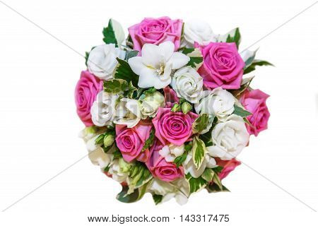 Bride's bouquet on white isolated background. Wedding accessory for bride. Flowers roses in a festive bouquet.