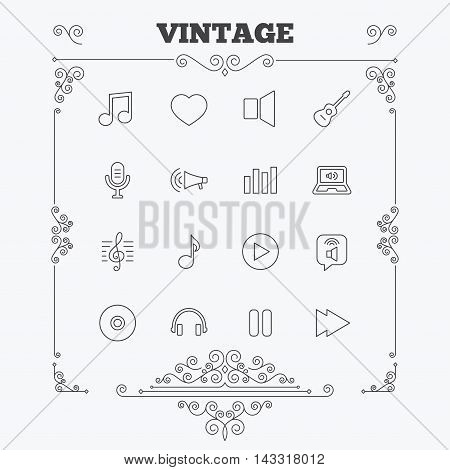 Music icons. Musical note, acoustic guitar and microphone. Notebook, dynamic and headphones symbols. Vintage ornament patterns. Decoration design elements. Vector