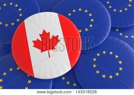 Partnership Canada EU: Canadian Flag And European Union Flag Badges 3d illustration