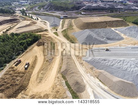 Aerial View Over The Building Materials Processing Factory. Sand Mine. View From Above.