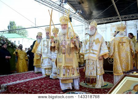 Kiev Ukraine celebration liturgy in honor of the baptism of Rus in Kiev Pechersk Lavra - 27 July 2013 -: Patriarch Kirill Gundyaev blesses people Close-up portrait