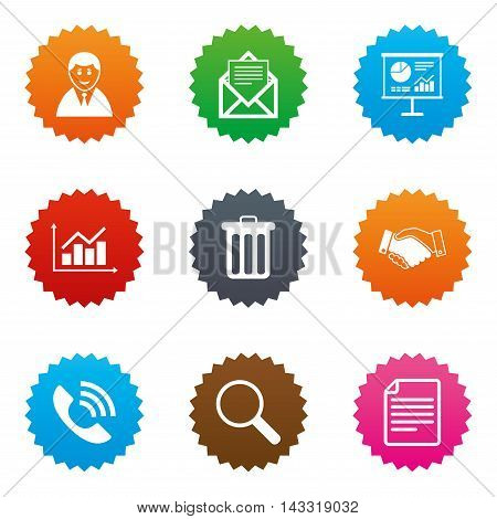 Office, documents and business icons. Businessman, handshake and call signs. Chart, presentation and mail symbols. Stars label button with flat icons. Vector