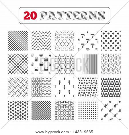 Ornament patterns, diagonal stripes and stars. Painting roller, brush icons. Spray can and Bucket of paint signs. Wall repair tool and painting symbol. Geometric textures. Vector