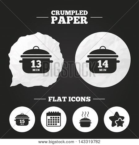 Crumpled paper speech bubble. Cooking pan icons. Boil 13, 14 and 15 minutes signs. Stew food symbol. Paper button. Vector