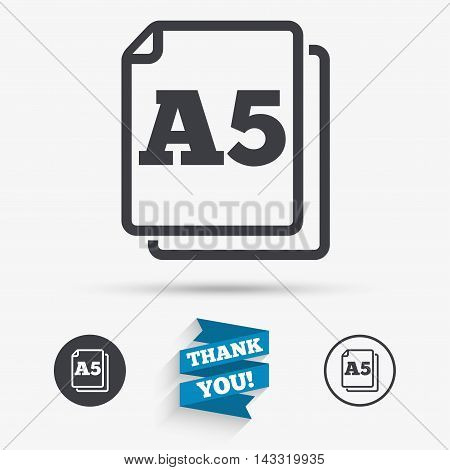 Paper size A5 standard icon. File document symbol. Flat icons. Buttons with icons. Thank you ribbon. Vector