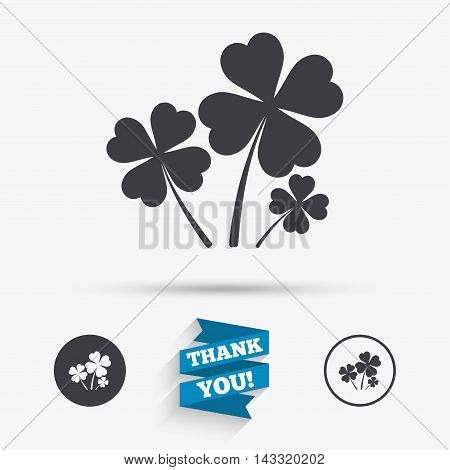 Clovers with four leaves sign icon. Saint Patrick symbol. Flat icons. Buttons with icons. Thank you ribbon. Vector