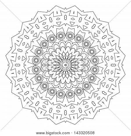 Abstract style mandala line art design coloring page