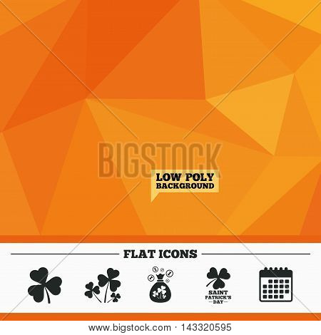 Triangular low poly orange background. Saint Patrick day icons. Money bag with clover and coins sign. Trefoil shamrock clover. Symbol of good luck. Calendar flat icon. Vector