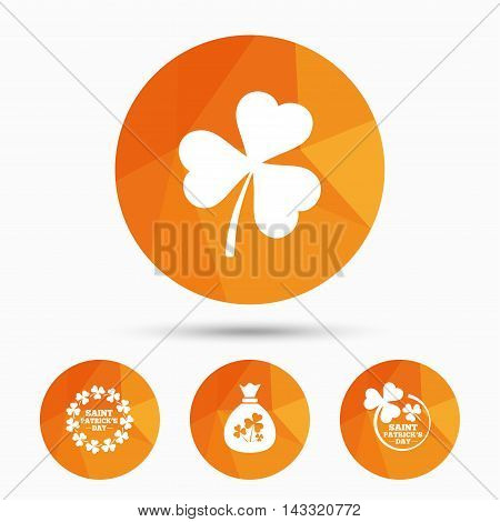 Saint Patrick day icons. Money bag with clover sign. Wreath of trefoil shamrock clovers. Symbol of good luck. Triangular low poly buttons with shadow. Vector