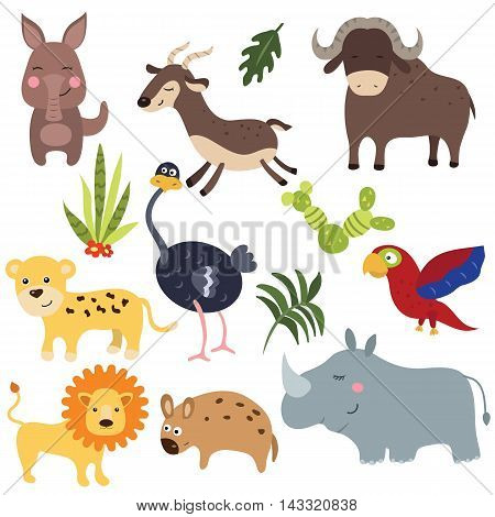 Set of different african animals on white background.