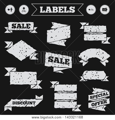 Stickers, tags and banners with grunge. Pedestrian road icon. Bicycle path trail sign. Cycle path. Arrow symbol. Sale or discount labels. Vector
