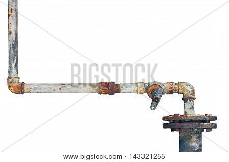 Old rusty pipes, aged weathered isolated grunge rust iron pipeline and plumbing connection joints, industrial tap fittings, faucets, valve, large detailed horizontal closeup