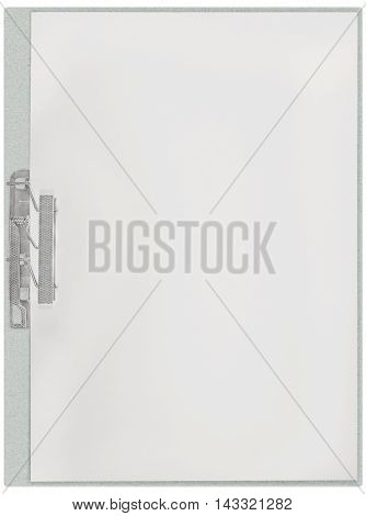 Vertical clipboard, blank empty isolated white paper file copy space sheet texture background, large detailed closeup, communication concept metaphor