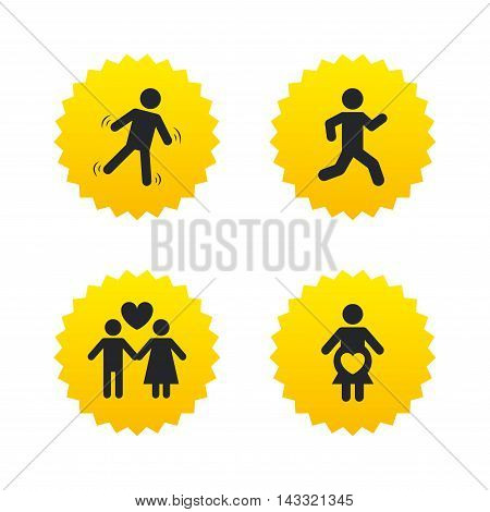 Women pregnancy icon. Human running symbol. Man love Woman or Lovers sign. Yellow stars labels with flat icons. Vector