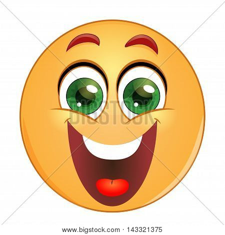 Emoticon laughing with big open mouth.  Vector illustration.